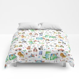 Cute Animal Hospital Watercolor Doctor Pattern Comforters