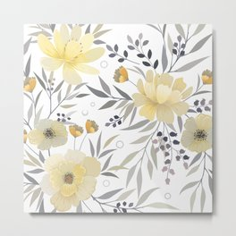 Modern, Floral Prints, Yellow, Gray and White Metal Print