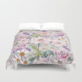 Watercolor garden peonies floral hand paint Duvet Cover