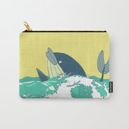 Cartoon whale in the old style, floating in the sea waves. Carry-All Pouch