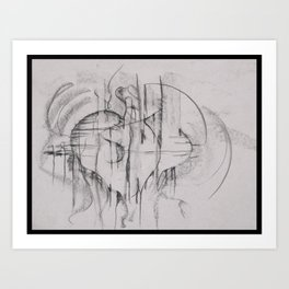 Charcoal Abstraction Art Print