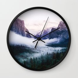 Misty Tunnel View - Yosemite National Park, CA Wall Clock