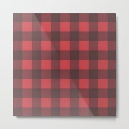 Black & Red Buffalo Check Pattern Metal Print