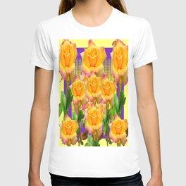 Purple Tinged Golden Yellow Garden Roses Green Art T-shirt