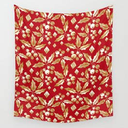 Christmas pattern.Gold sprigs on a bright red background. Wall Tapestry
