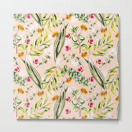 Pattern leaf and flowers II Metal Print