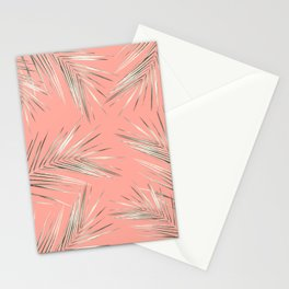 White Gold Palm Leaves on Coral Pink Stationery Cards