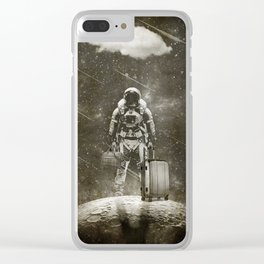 Space Traveller sepia Clear iPhone Case