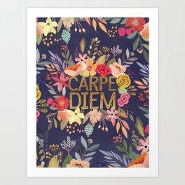 Carpe Diem Floral ring Art Print