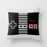 nintendo Throw Pillows featuring Nintendo Controller by Janismarika