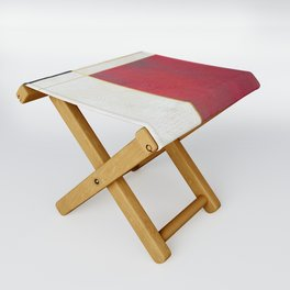 Blue, Red And White With Golden Lines Abstract Painting Folding Stool