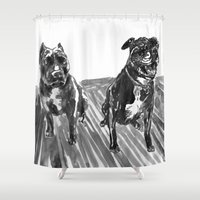 hercules Shower Curtains featuring Both Hercules and Manders by Jenn Steffey