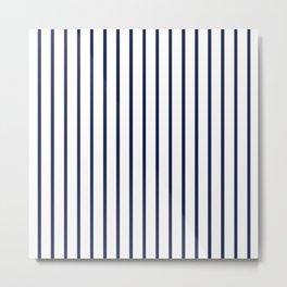 Vertical Navy Blue Stripes Pattern Metal Print