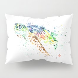 Sea Turtle Colorful Watercolor Painting Pillow Sham