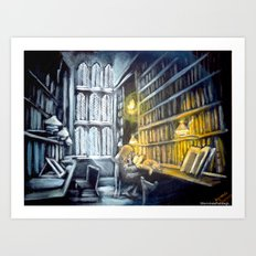 Hermione studying in the library Art Print