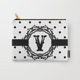 Black Monogram: Letter V Carry-All Pouch