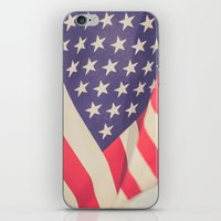 american flag iPhone & iPod Skins featuring American Flag by Leah M. Gunther Photography & Design