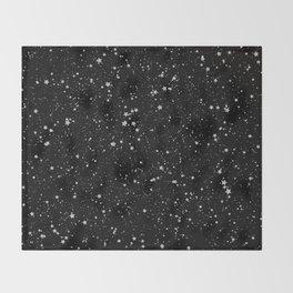 Glitter Stars2 - Silver Black Throw Blanket