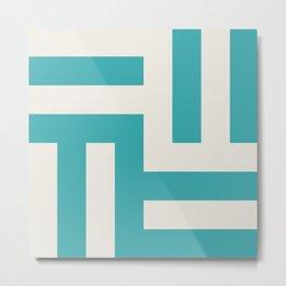 Teal Turquoise Aqua and Alabaster White Grid Stripes Tessellation Pattern 1 - Aquarium SW 6767 Metal Print