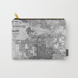 Vintage Map of Vancouver Canada (1920) BW Carry-All Pouch