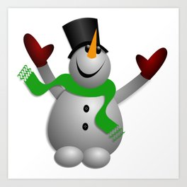 A Happy Snowman Art Print