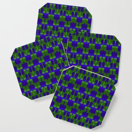 Squares and Lines in Blue and Green Coaster