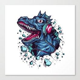 Dino with Headphones BLUE Orient Canvas Print