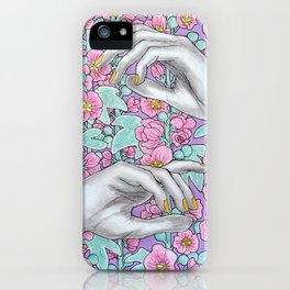 Hand study with floral backround iPhone Case