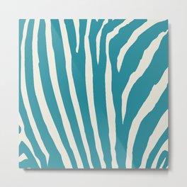 Teal & Cream Zebra Print Metal Print