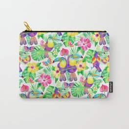 Tropical Toucans in Watercolor White Carry-All Pouch