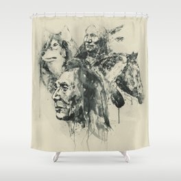 Native Heritage Vintage Collage Shower Curtain