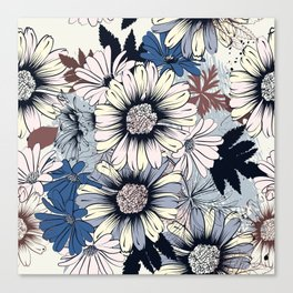 Cute floral pattern in vintage stylewith daisy flowers Canvas Print