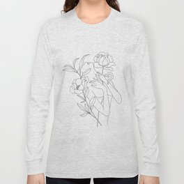 Minimal Line Art Woman with Peonies Long Sleeve T-shirt