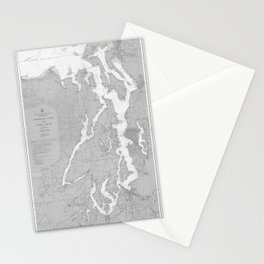 Puget Sound Washington State Nautical Chart Map Print 1956, Map Art Prints Stationery Cards