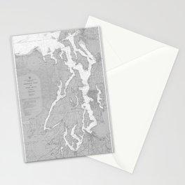 Puget Sound Washington State Nautical Chart Map Print 1956, Map Art Prints Stationery Cards