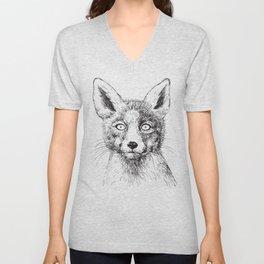Fox portrait, ink drawing Unisex V-Neck