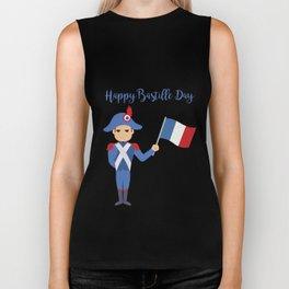 Soldier holding the French flag - Bastille Day Biker Tank