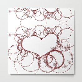 Circles make Heart Multi Design Line Art Metal Print