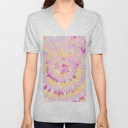 Boho girly purple yellow pink hippie tie dye pattern Unisex V-Neck