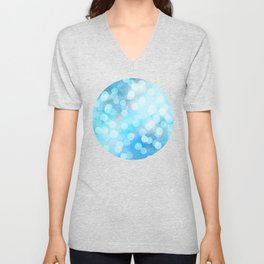 Turquoise Snowstorm - Abstract Watercolor Dots Unisex V-Neck