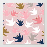 sloths Canvas Prints featuring Pattern with sloths by Darish