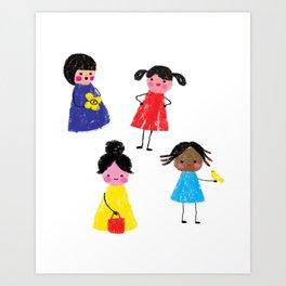 Little girls pattern Art Print