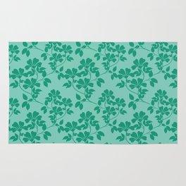 Emerald Green Leaves Rug