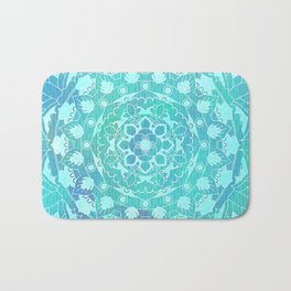 Refreshing Ocean Green Mandala Pattern Bath Mat
