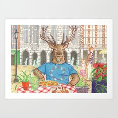 Everyday Animals - Mr Stag eats his lunch Art Print