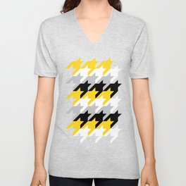 Neon Goth Houndstooth Pattern (Yellow) Unisex V-Neck