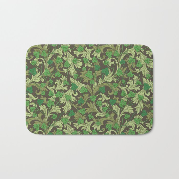Green ivy with ornament on dark brown background Bath Mat