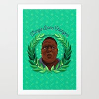 notorious big Art Prints featuring NOTORIOUS by badOdds