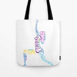 Goddess Yoga Lunge Silhouette of Words Tote Bag
