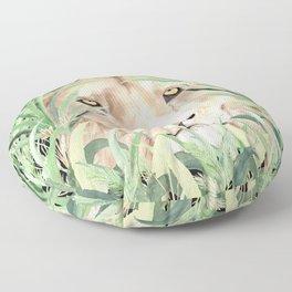 Lion staring through savanna grass, watercolor art.  Floor Pillow